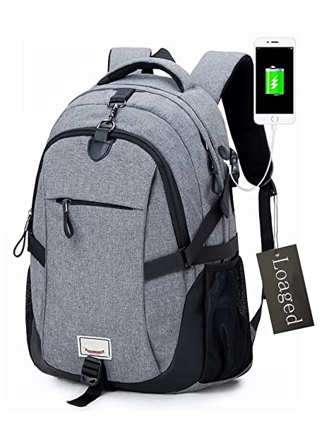 Anti-theft Laptop Backpack, Loaged Business Bags with USB Charging Port  Water Resistant School