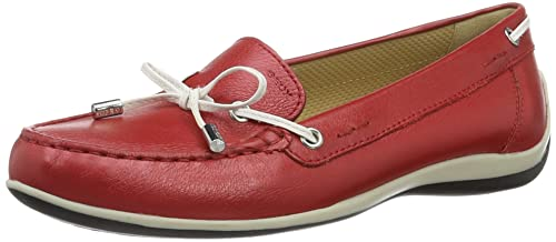 Geox Womens Yuki 24 Moccasin, red/White, 35 M EU (5 US