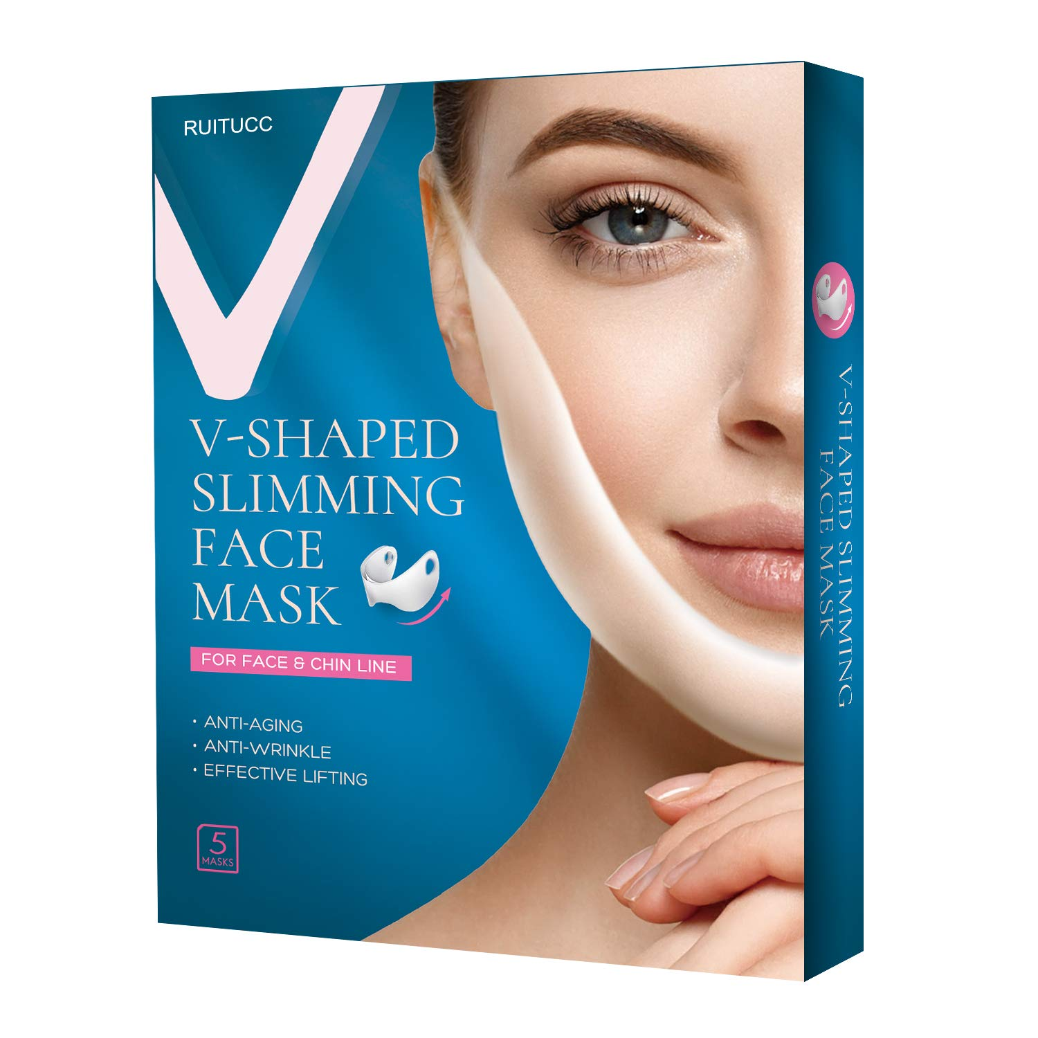 RUITUCC Double Chin Reducer V Shaped Slimming Face Mask Compact Simple V Shape Mask Chin Mask Face Slimming Strap V Line Chin Lift Mask