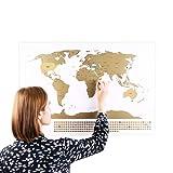 Scratch Off World Travel Map Weltkarte mit Fahnen (Deutsch) XXL + BONUS A4 Größe Rubbellandkarte der Deutschland! - Personalisiertes Poster um Reisen zu verfolgen - Zeigen Sie Ihre Abenteuer!   Einzigartiges Design von ENNO VATTI (Weiß   84 x 58 cm)