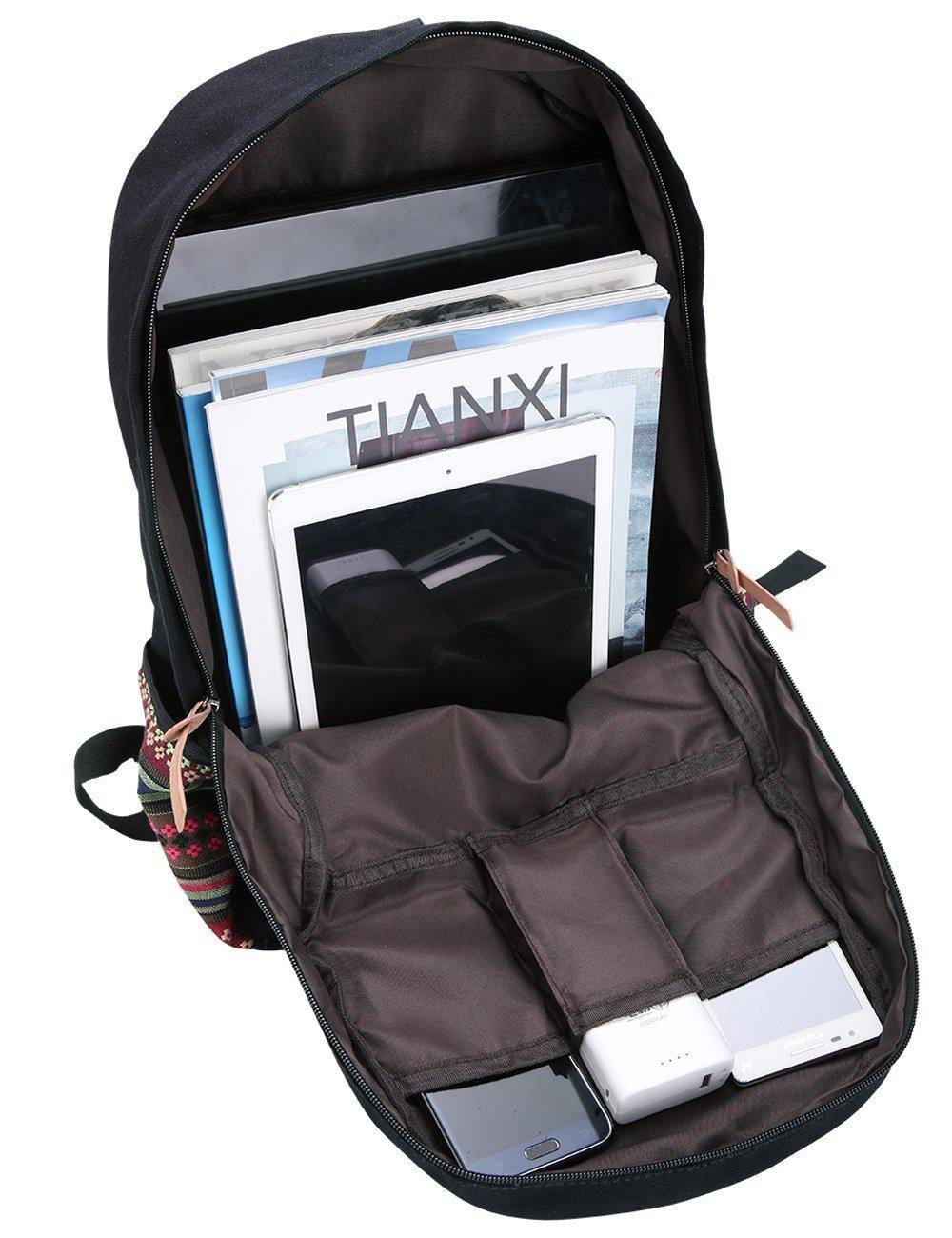 Amazon.com: Black Canvas School Bag Backpack Girls, Hmxpls Bohemia ...