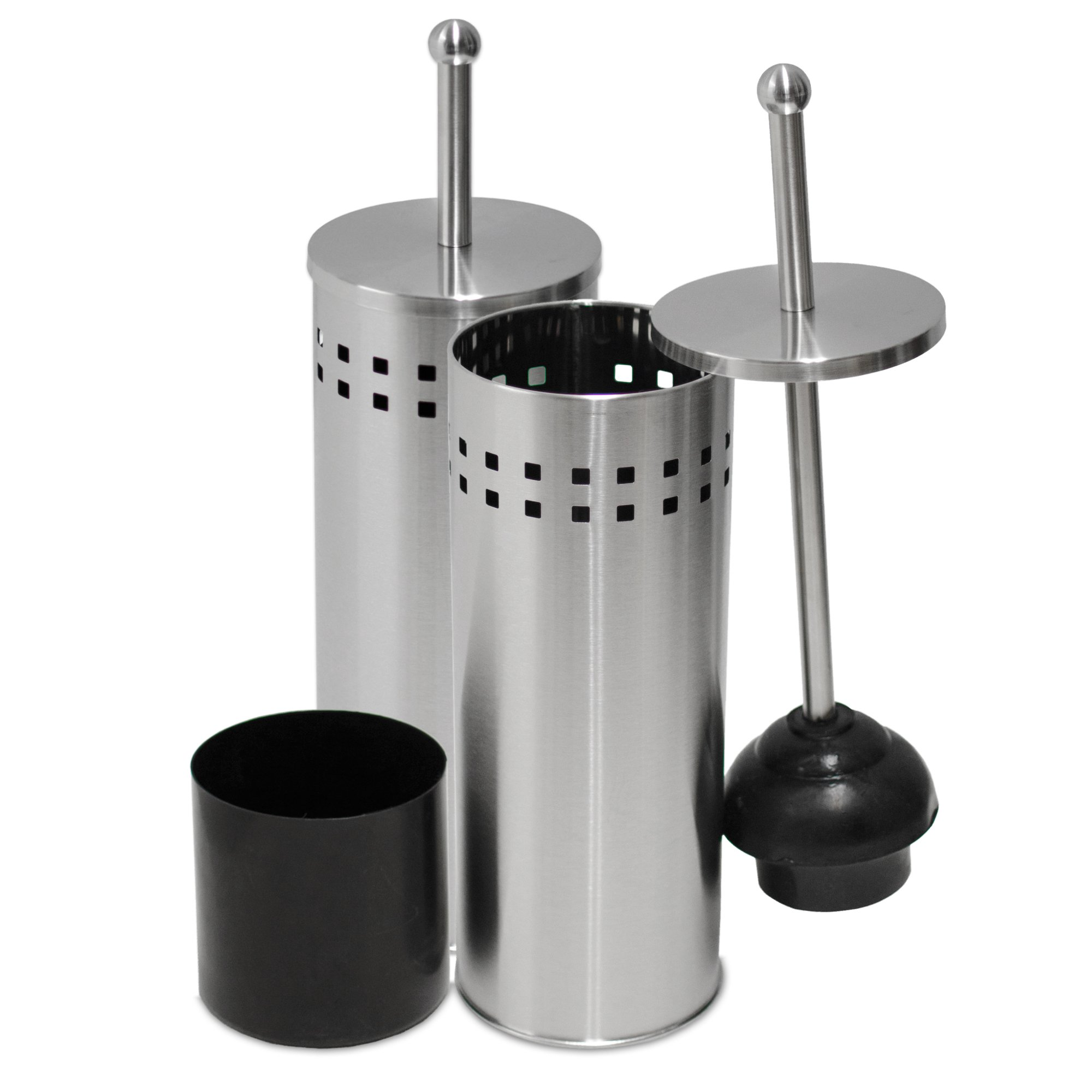 Oasis Collection Toilet Plunger & Holder, Stainless Steel Matte Finish TP029558-2 Pack by Oasis Collection