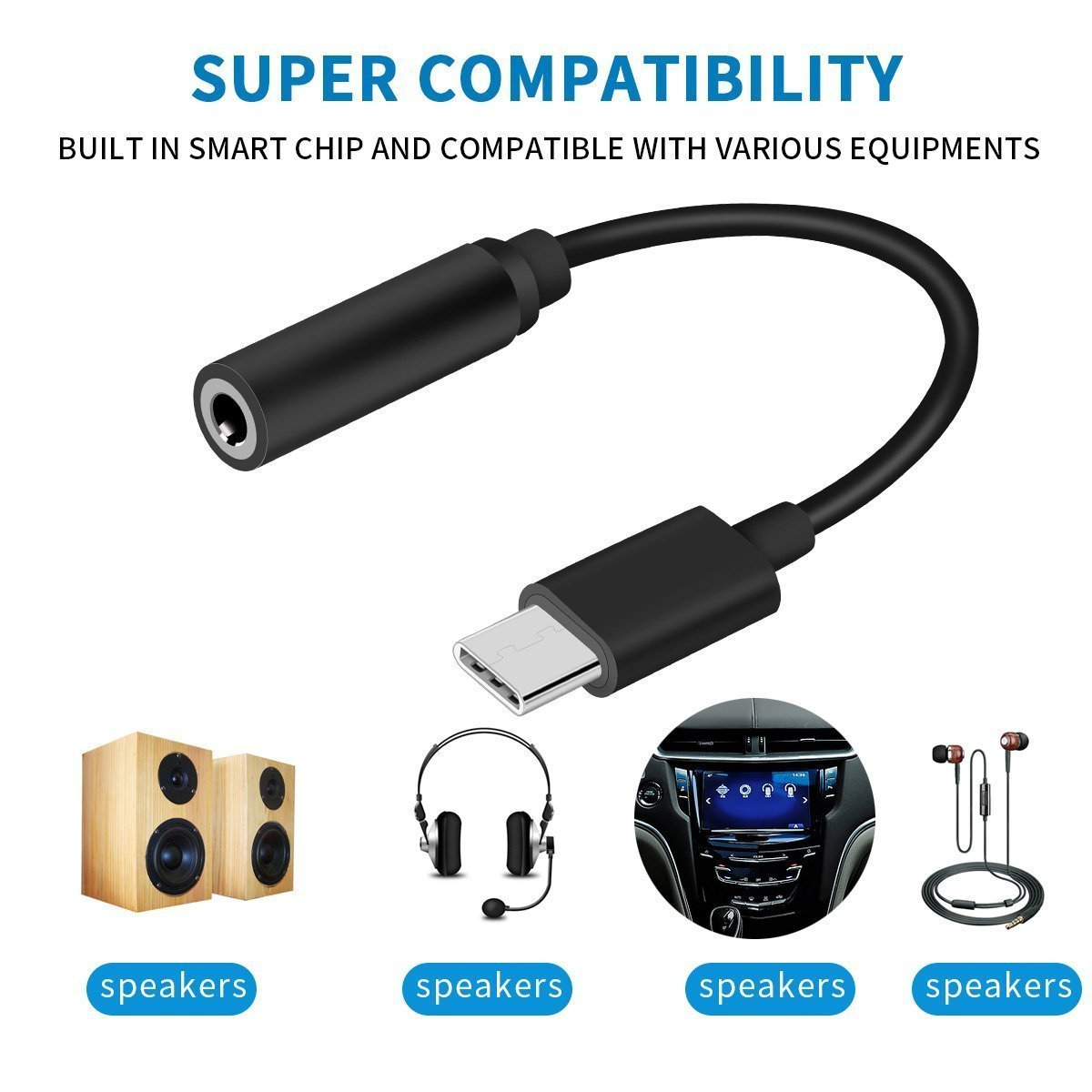 Sonido Transparente USB C a Adaptador de Audio de 3,5 mm para Huawei Mate 20//Mate 20 Pro etc Adaptador de Audio SOCINY Cuffie da 2 in 1 Tipo C a 3,5 mm