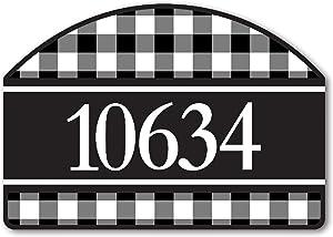 Yard Design Studio M Black & White Check Decorative Address Marker Yard Sign Magnet, Made in USA, Superior Weather Durability, 14 x 10 Inches