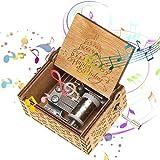 NELNISSA Cajas de música de cumpleaños Felices Manivela de Madera Caja de música Antigua Tallada Regalos
