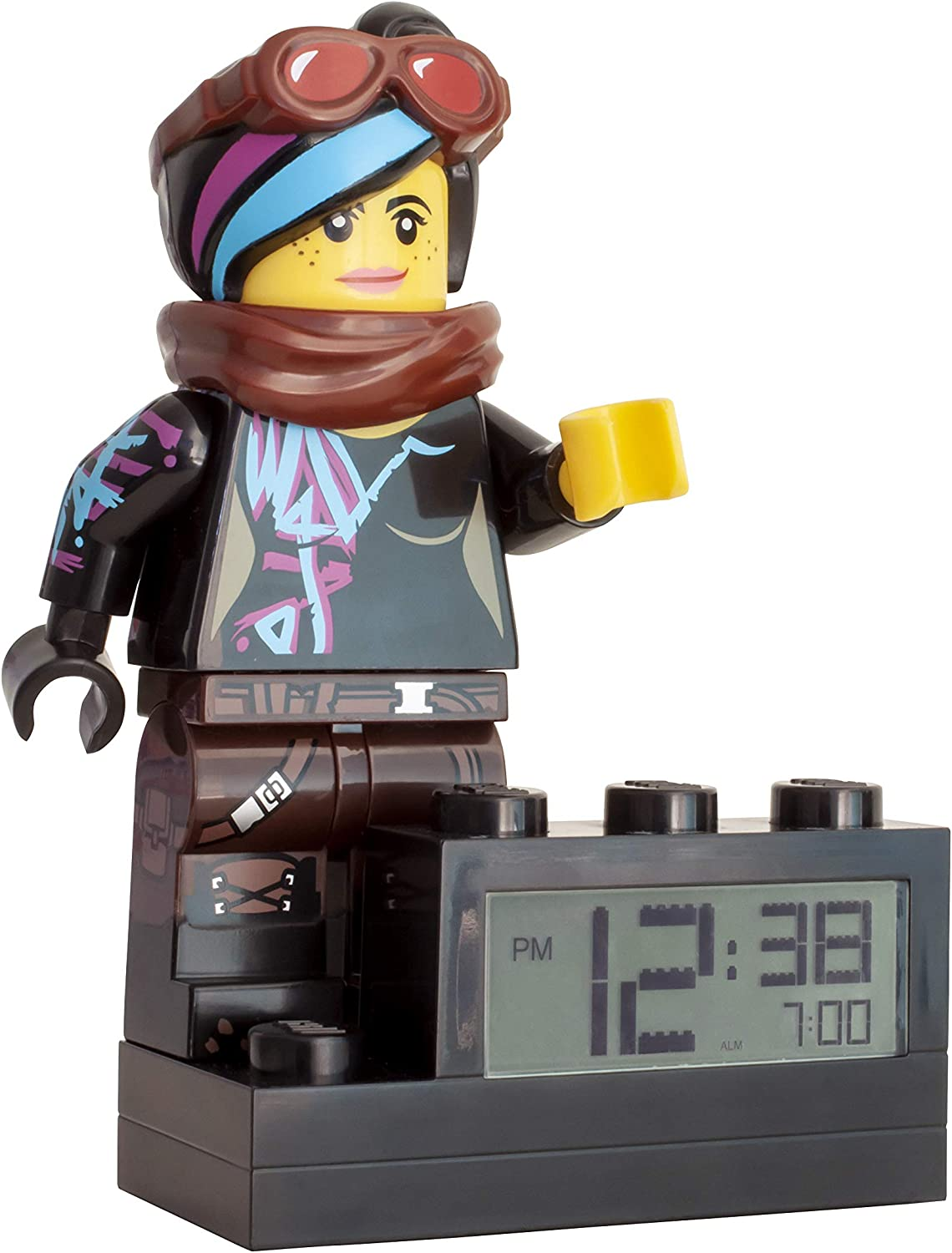 Amazon Com Clictime 9003974 Wyldstyle Kids Minifigure Light Up Colour Plastic 9 5 Inches Tall Lcd Display Boy Girl Official Lego Movie 2 Alarm Clock Home Kitchen
