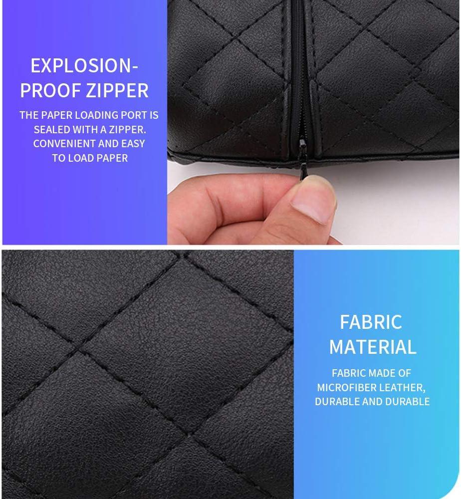 Black DIYARTS Car Tissue Holder Tissue Bag Backseat Hanging Zipper Paper Towel Tissue Box in-Vehicle Use Tray Car Visor Accessories with Elastic Strap