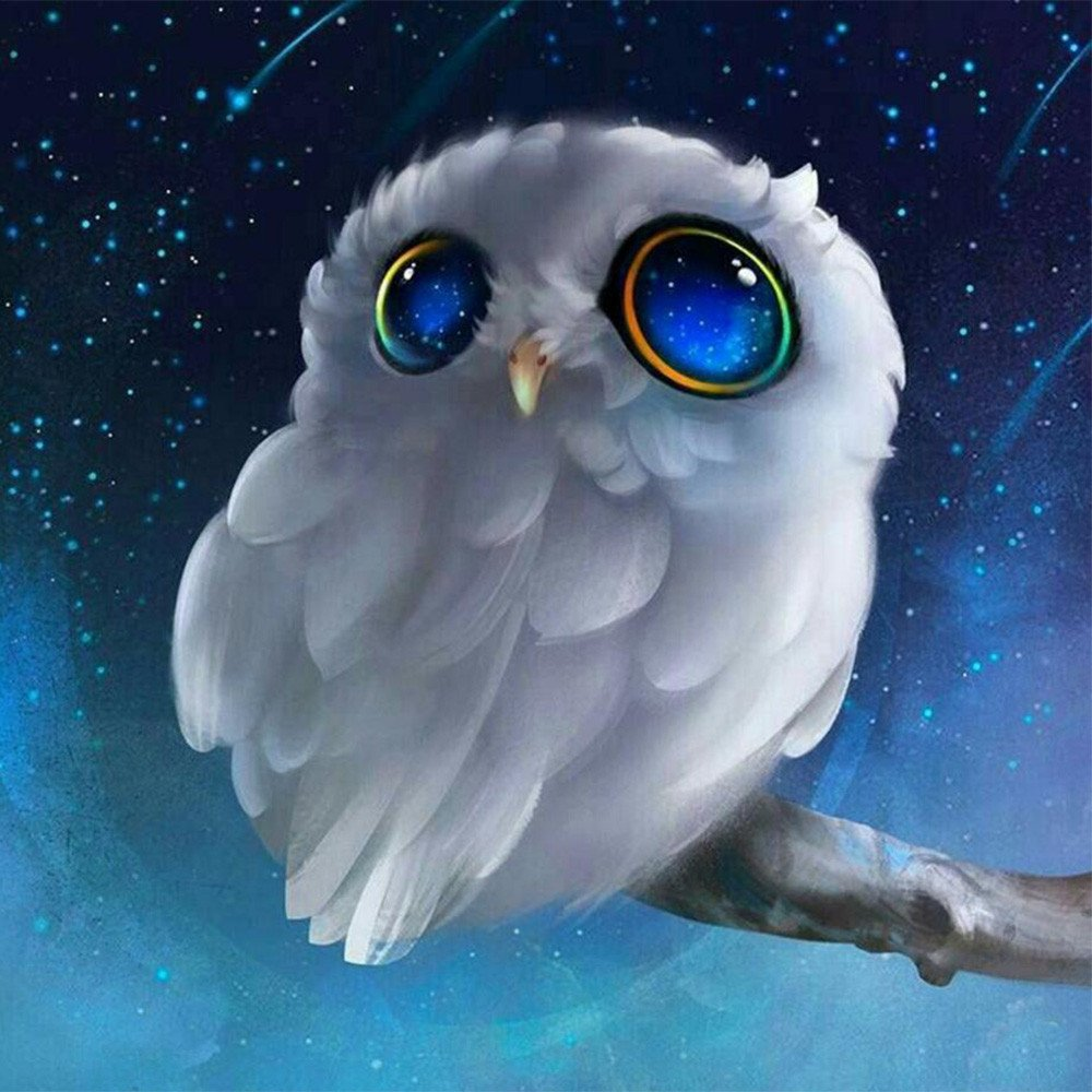 LLguz Owl 5D Embroidery Paintings Rhinestone Pasted DIY Diamond Paintings Part Round Embroidery Kits Arts Home Decoration Wall Decoration