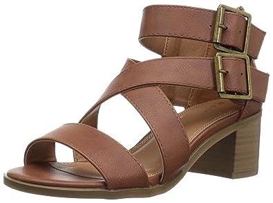 57d50677a92 Rampage Women s Havarti Cutout Lace-Up Open Toe Ankle Strap Sandal Cognac 6