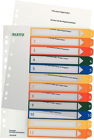 mehrfarbig A4 Zahlen 1-12 // 5er Pack Leitz PC-beschriftbares Register PP extrabreit