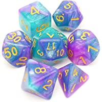 Haxtec Baby Blue Purple Glitter DND Dice Set Polyhedral D&D Dice for RPGs