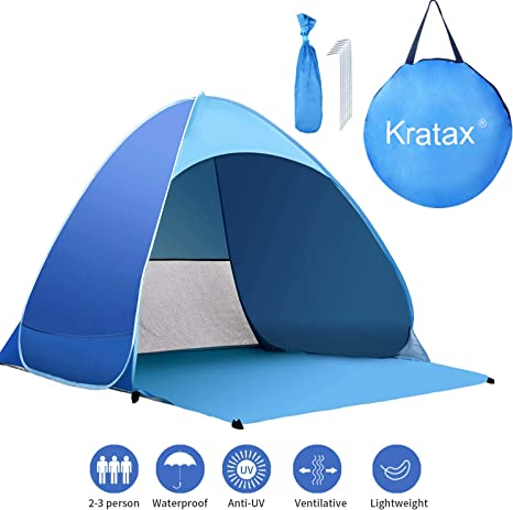 1-3 Persons Beach Tent Automatic Pop Up Anti UV Protable Beach Camping Hiking