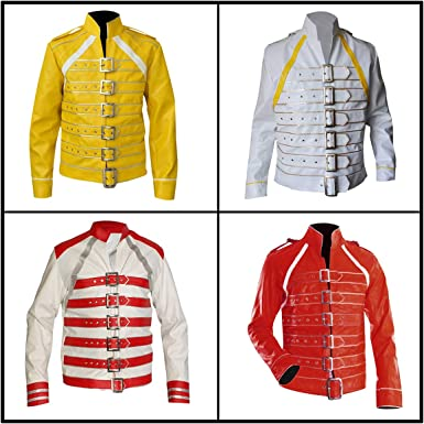 Mens Freddie Mercury Jacket Queen Wembley Concert Yellow Leather Costume Faux//Real