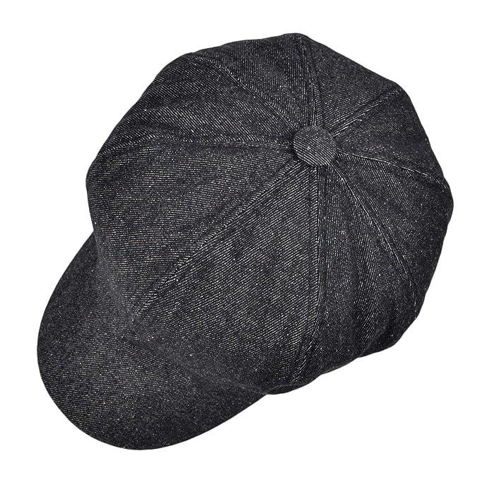 66ce87f6654c7 VOBOOM 8 Panel Newsboy Gatsby Ivy Cap Golf Cabbie Driving Beret Hat (322  Black) at Amazon Men s Clothing store