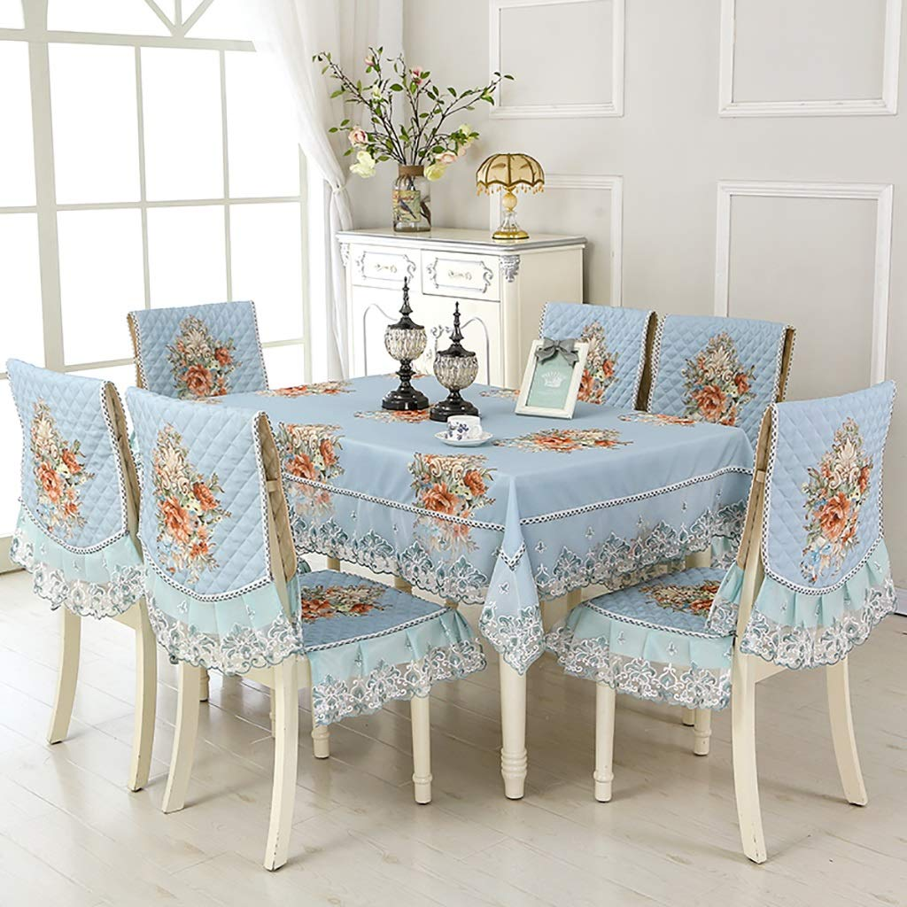 WENJUN Cotton and Linen Rectangle Lace Lace Tablecloth, Straight Edge Dining Chair Package, Decoration Table Cover, Seat Cushion Suit Table Cloth, Chair Cover 3colors (Color : 6 Orange Chair Covers)