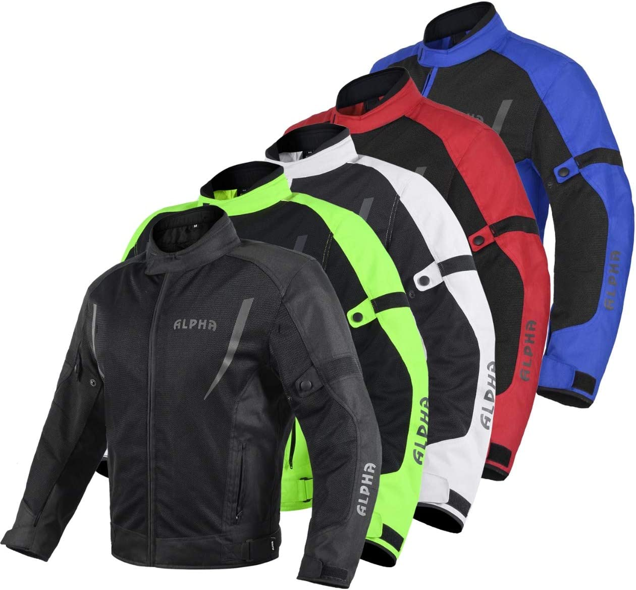 HI VIS MESH MOTORCYCLE JACKET FOR MENS RIDING BIKERS RACING DUAL SPORTS BIKE ARMORED PROTECTIVE… (BLACK, X-LARGE): Automotive