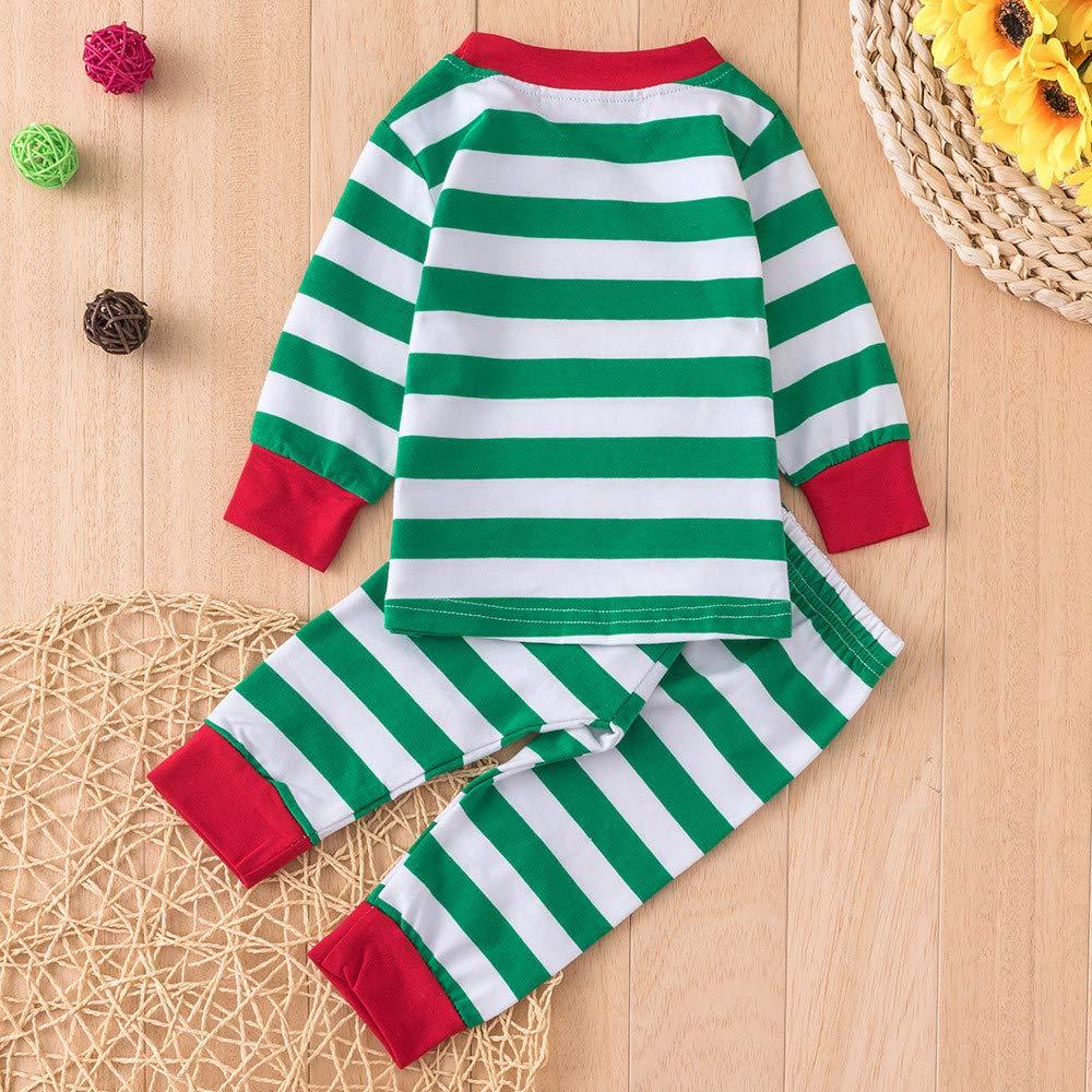 FeiliandaJJ Baby Clothing Set 2Pcs Infant Toddler Baby Boy Girl Christmas Stripe Santa Claus Tops+Pants Xmas Outfits Clothes