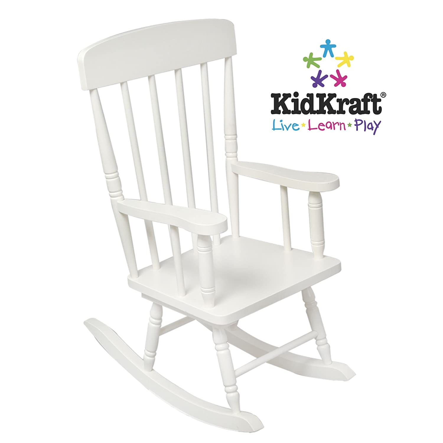 amazon com kidkraft spindle rocking chair white toys games
