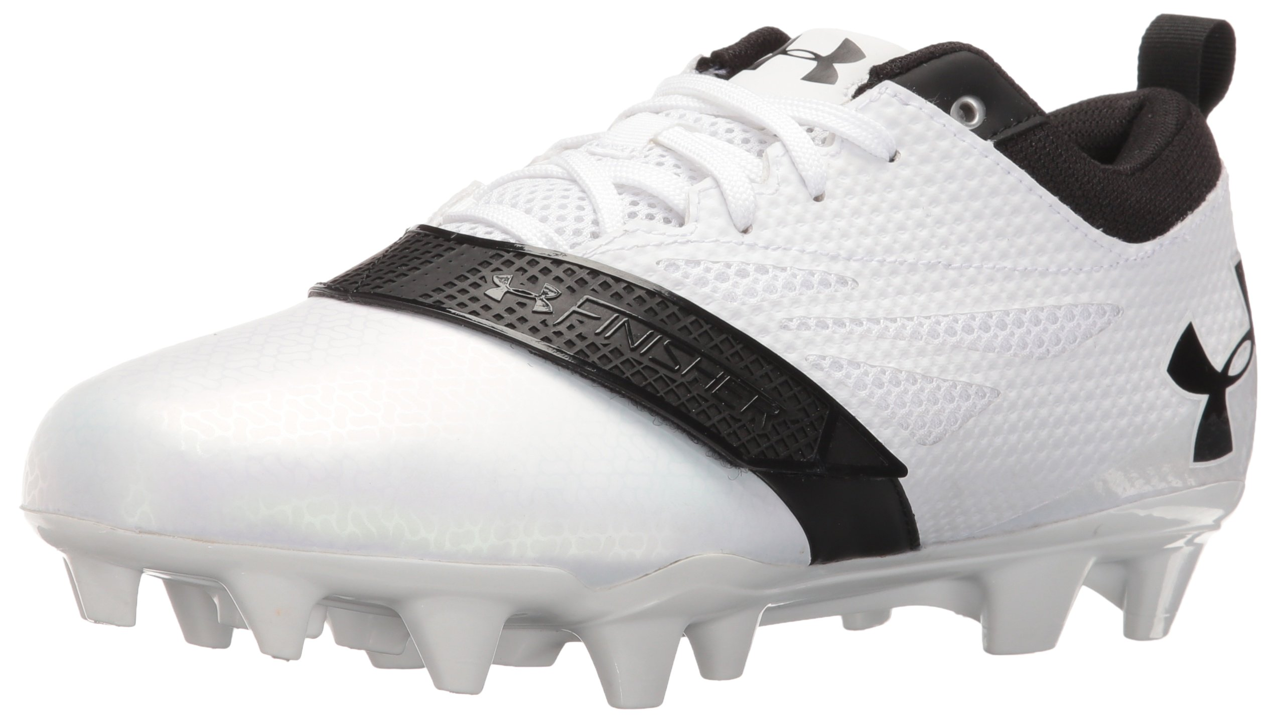 Under Armour Men's Lax Finisher MC Lacrosse Shoe, White (101)/Black, 9.5 by Under Armour