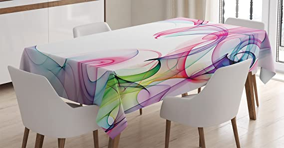 Ambesonne Abstract Home Decor Tablecloth, Colorful Smock Artwork Contemporary Creative Decorating Futuristic, Dining Room Kitchen Rectangular Table Cover, 52 X 70 inches