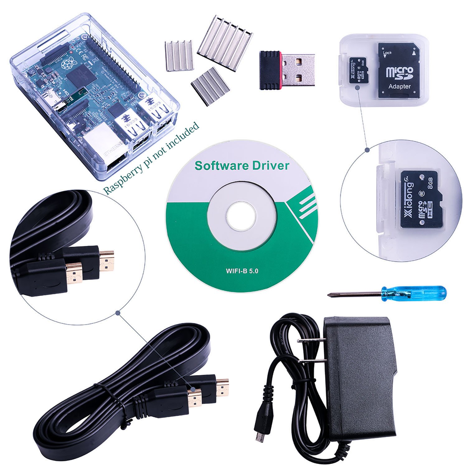 ELEGOO Raspberry Pi 3 Model B Basic Starter Kit with NOOBs Pre-Loaded 8GB SD Card - Wifi Dongle - Case - Power Supply - HDMI Cable - Heat Sink - Raspberry Pi Not Included