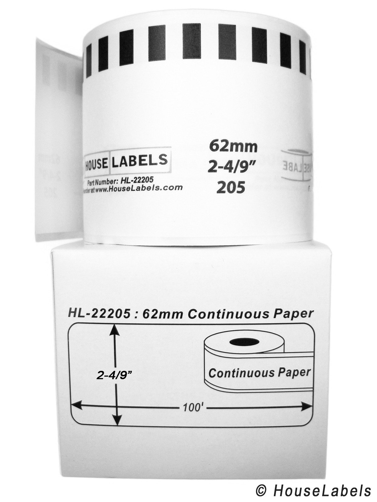 50 Rolls; Continuous Paper, HouseLabels Compatible with Brother DK-2205 Continuous Paper Labels (2-4/9'' x 100'; 62mm30.48m) - BPA Free! by HouseLabels