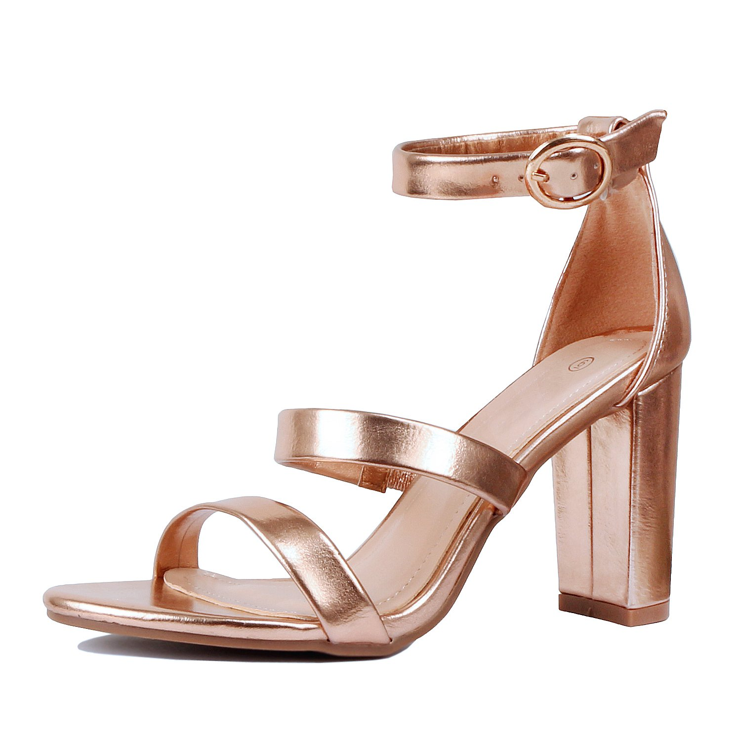 Guilty Heart | Womens Comfortable Chunky Block Ankle Strap | Open Toe Heeled Walking Sandals