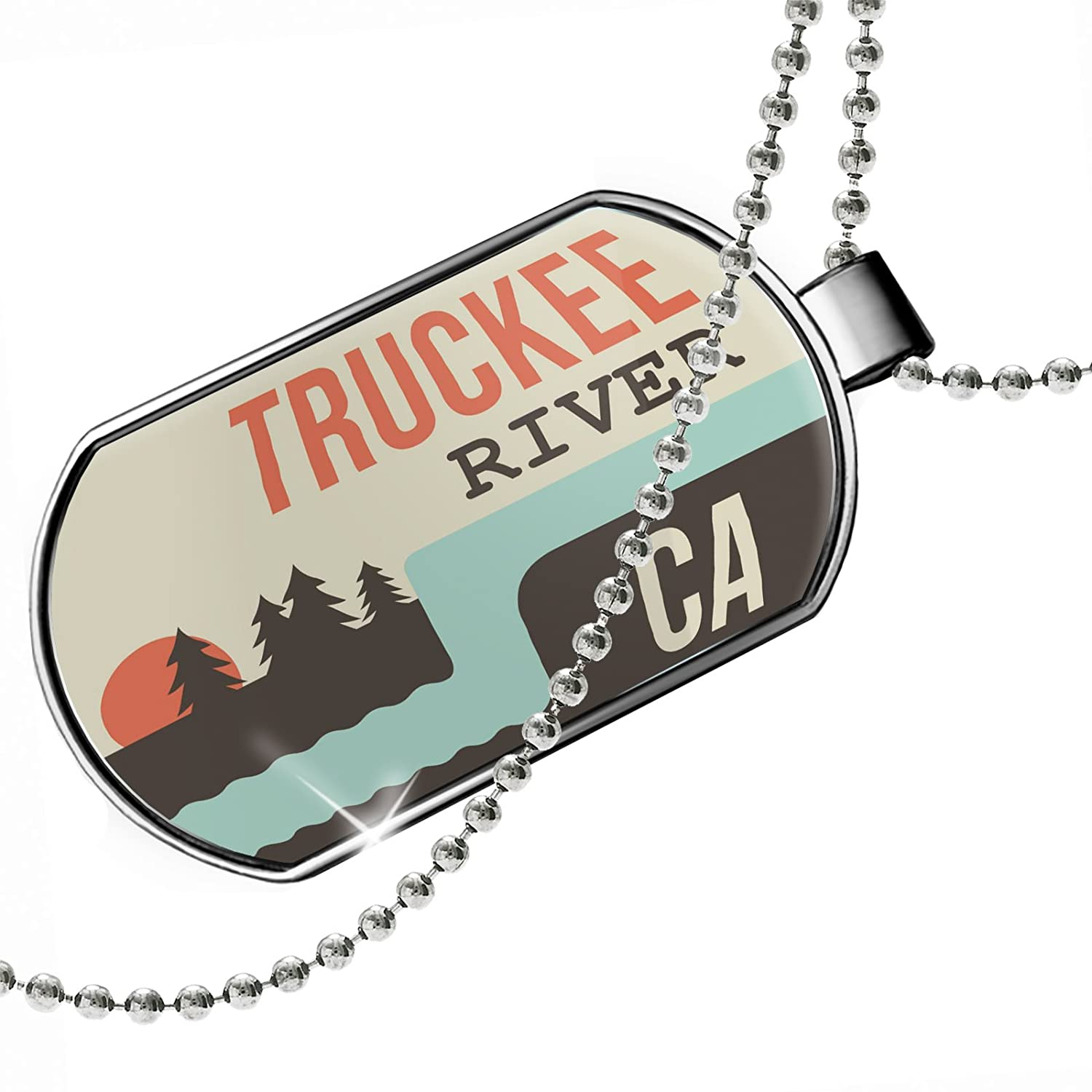 NEONBLOND Personalized Name Engraved USA Rivers Truckee River California Dogtag Necklace