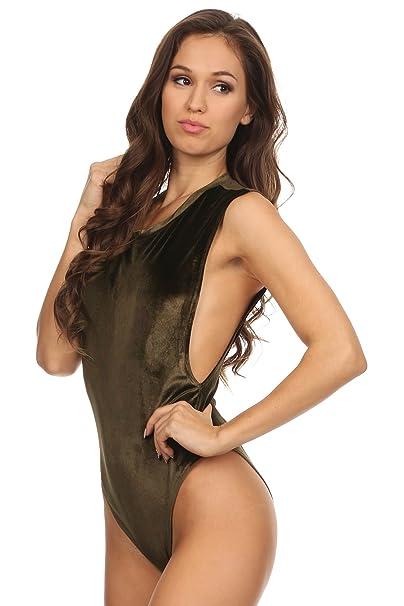 Amazon.com  MeshMe Womens Julianne - Deep Side Cut Velour Bodysuit  Clothing 33c54d06a4