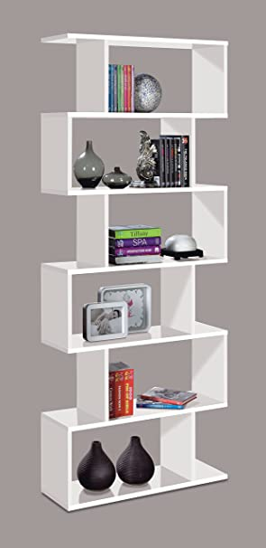 Ciara 6 Tier White Open Bookcase Room Divider With Modern Storage