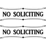 No Soliciting - White Vinyl Decal Stickers  - Package of 2 by Mysigncraft
