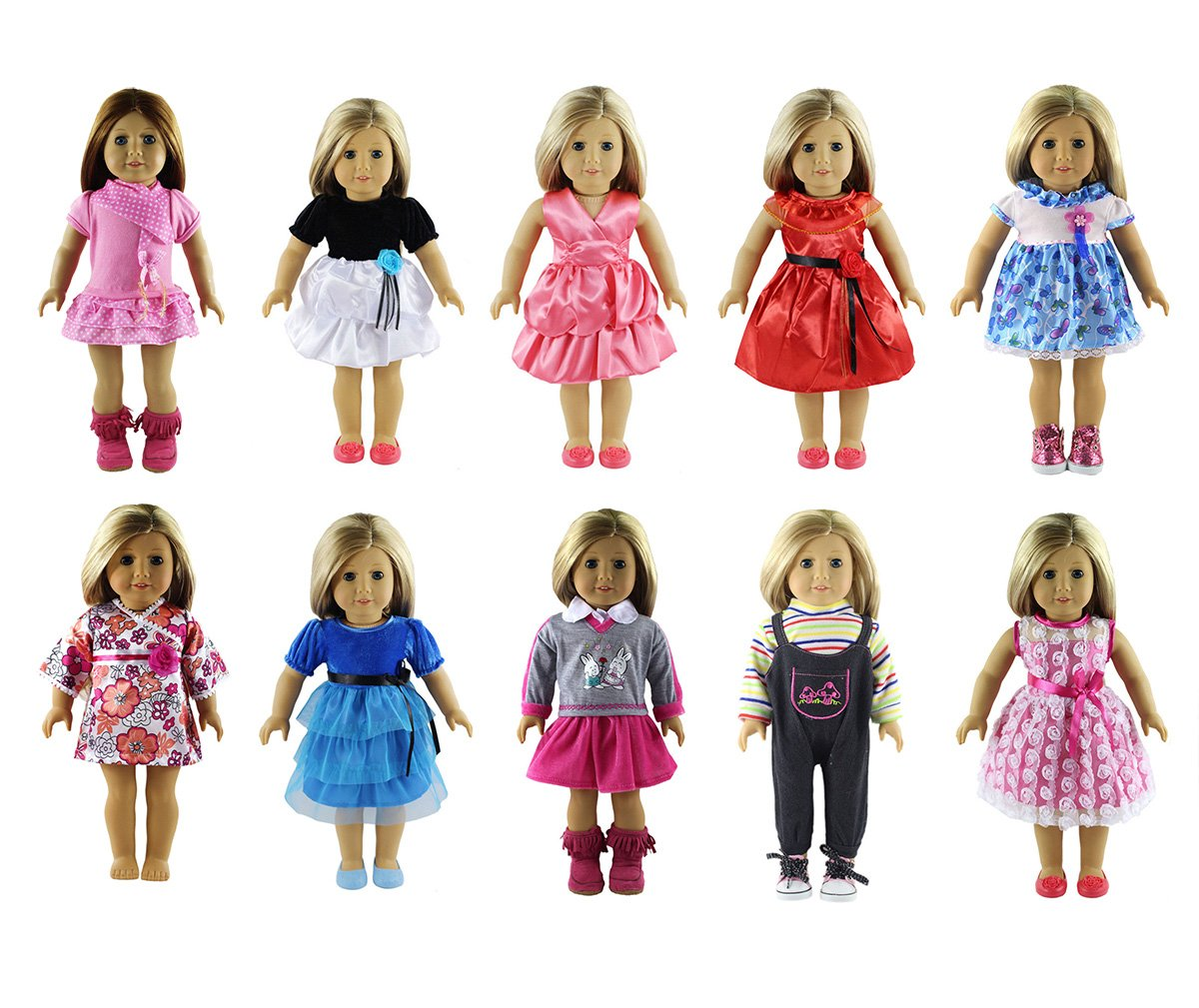 Party Zealot 18 inches Doll Clothes 10 Different Unique Styles Well Fit for American Girls Doll, Doll and Me, My Life Doll, and My Generation Doll