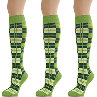 736453dcea5 Ladies Knee High Tartan Socks Checked Lime Green (3 Pack)  Amazon.co.uk   Clothing