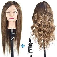 "ErSiMan Female Cosmetology Mannequin Head with 90% Human Hair 20"" Manikin Head for Brading Hair Hairdressing Training…"