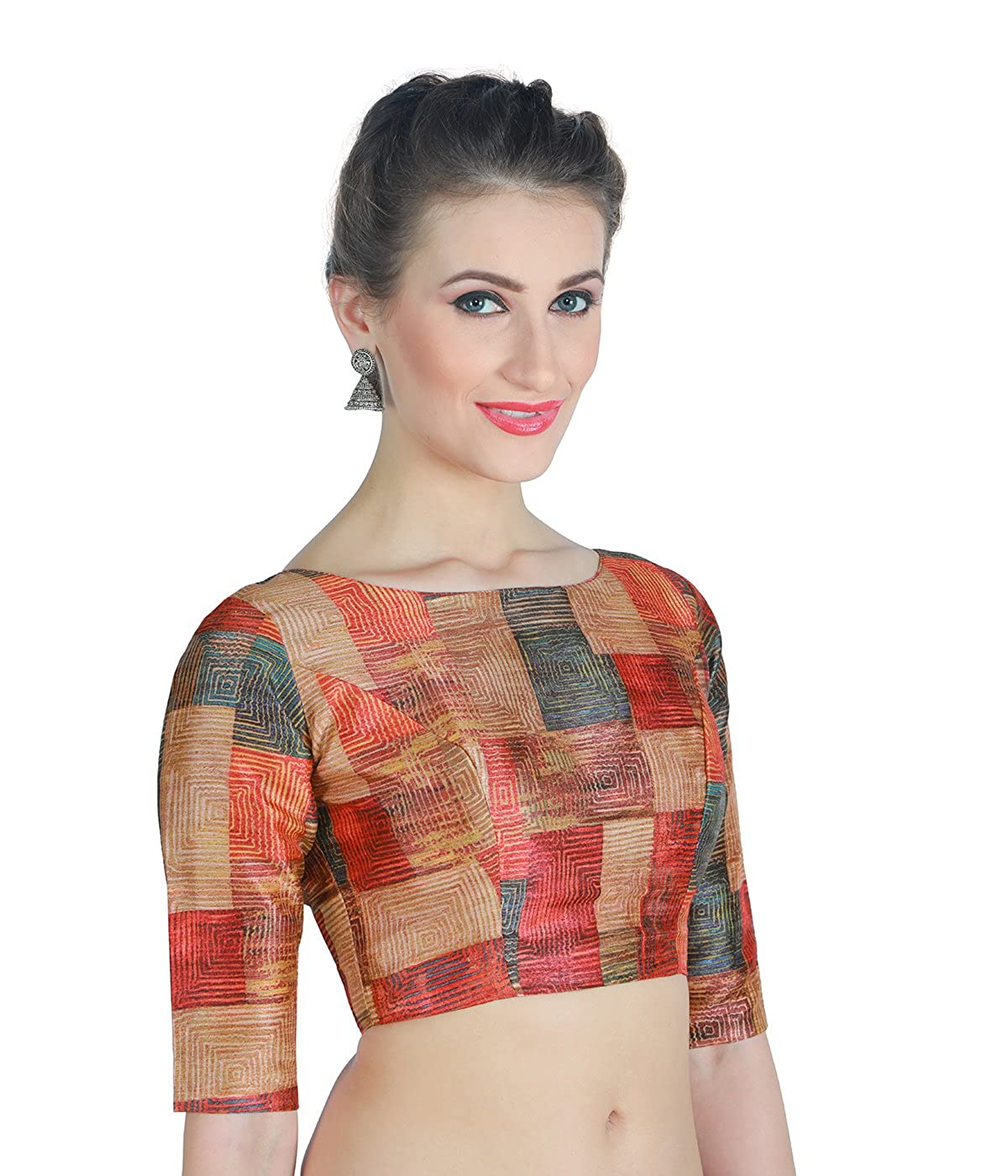21396cf7217c60 Studio Shringaar Women s Polyester Back Button Saree Blouse  Amazon.in   Clothing   Accessories