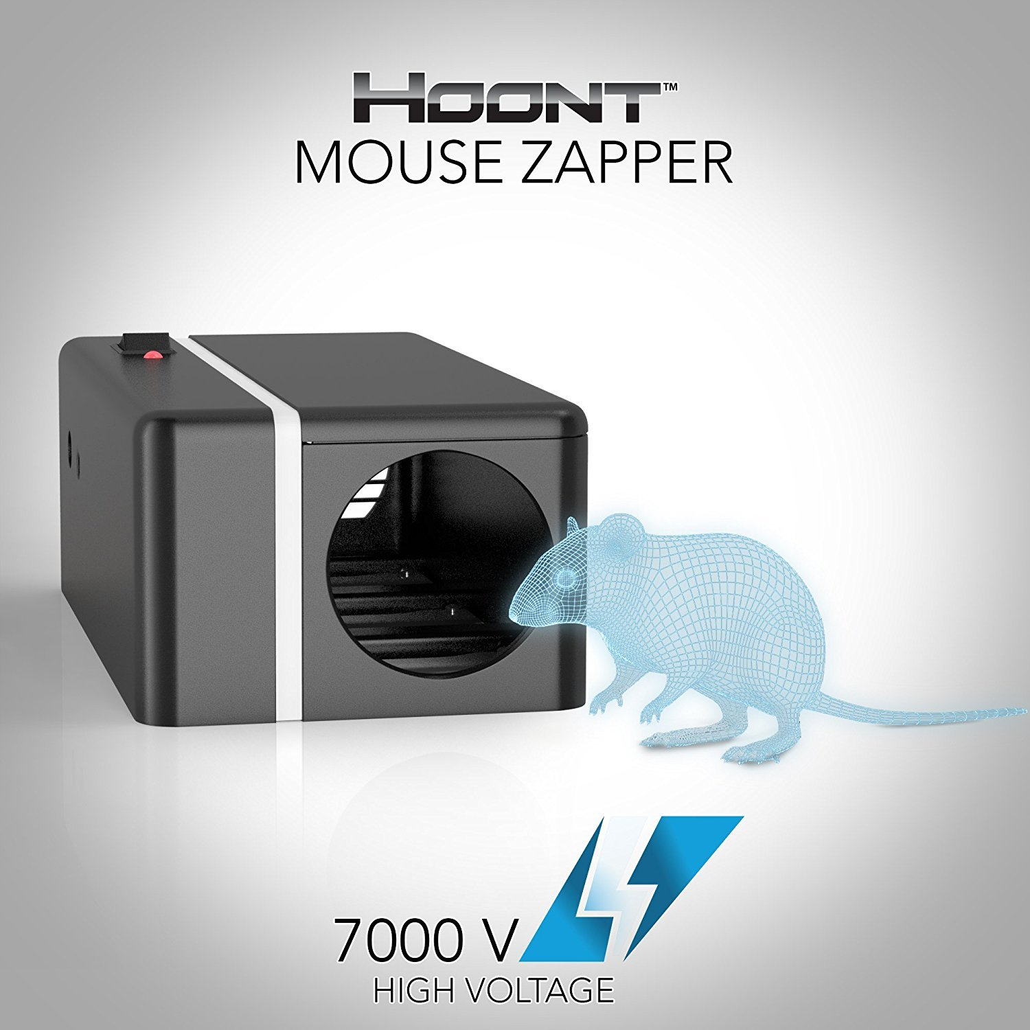Hoont Robust Electric Mouse Trap Killer – High Voltage Mouse Zapper - Clean, Easy and Humane Extermination of Mice [UPGRADED VERSION]