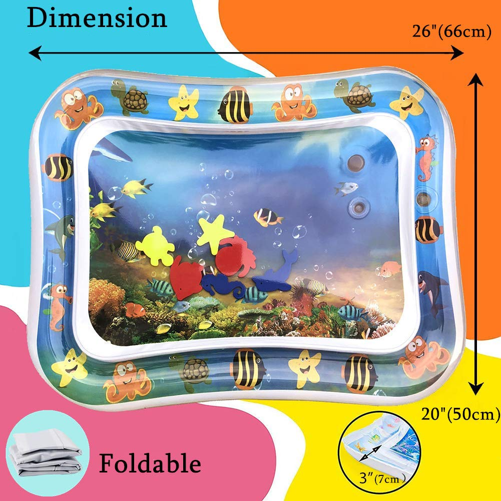 26X20 BPA Free Baby Water Play Mat Fun Water Mat Activity Center Leakproof PVC Water Filled Playmat for Babies Infants and Toddlers Child Kids Inflatable Mat Tummy Time Mat