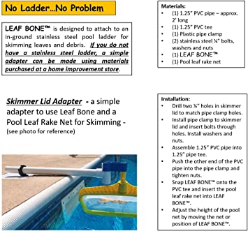 Leaf Bone - Leaf Net Skimmer Clip, Pool Net Ladder Attachment (Net Sold  Separately), Automatic Pool Cleaner, Collects More Than Skimmer Basket
