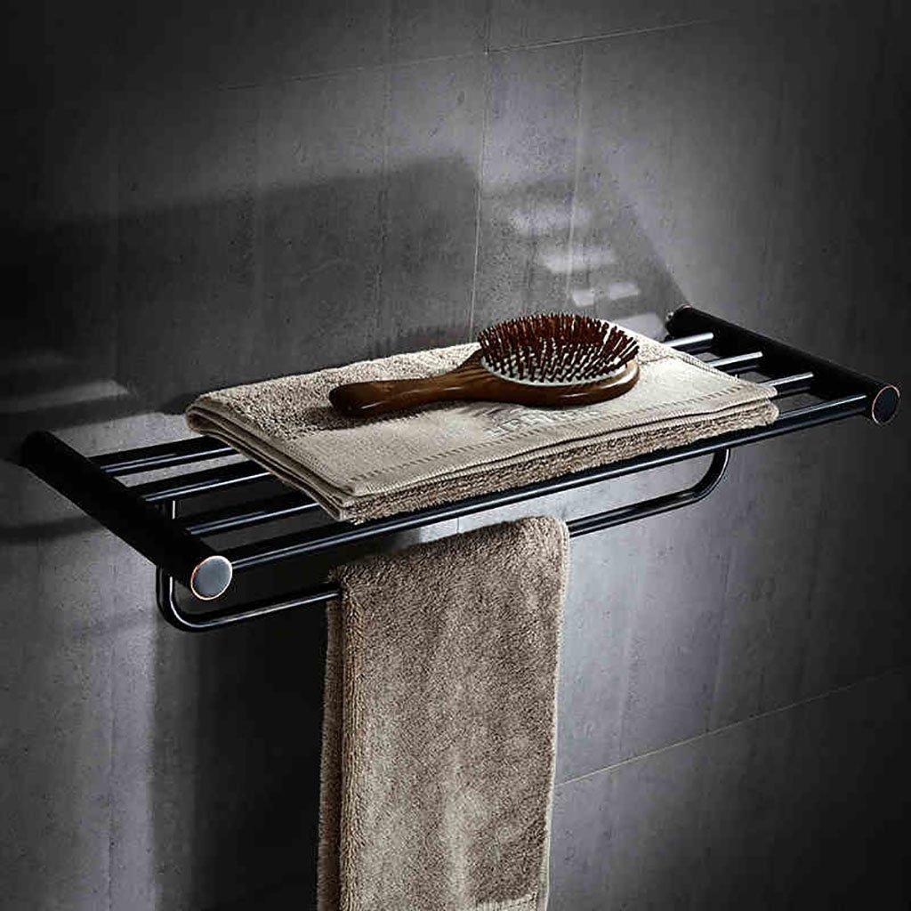 バスルームの棚 黒いタオルラック銅のタオルラックミシン目のついたタオルラックビンテージのバスルームの棚 バスルームタオル収納ラック B07DHD52KC