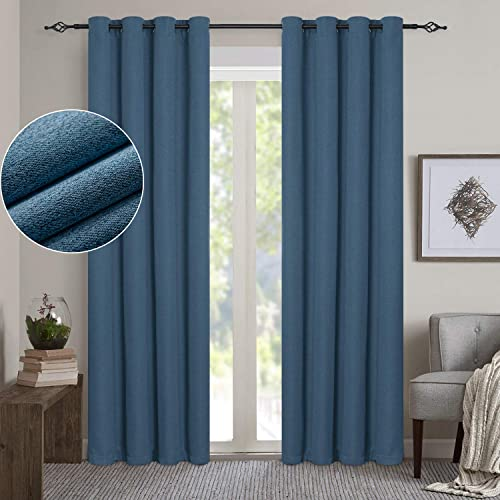 GRALI 100 Blackout Curtain Draperies, Home Decor Fashion Grommet Top Thermal Insulated Drape Panels for Sliding Door 2 Packs, 52 x 95 , Classic Blue