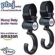 PBnJ baby Stroller Hooks 2 Pack Organizer Clip Travel Purse Shopping Diaper Bags