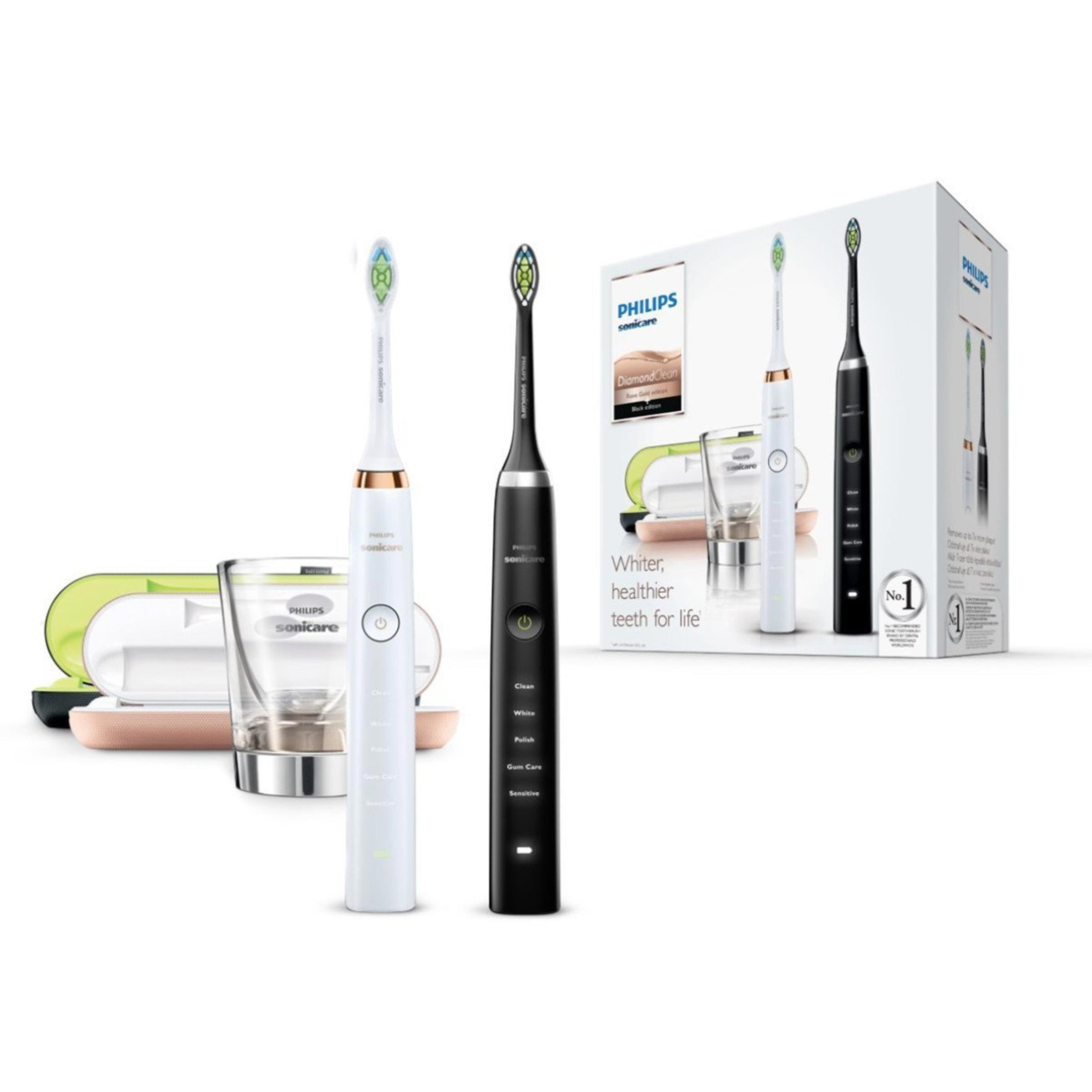 Philips Sonicare Diamond Clean HX9392/39 - Pack 2 Cepillos de Dientes Electricos Recargables,