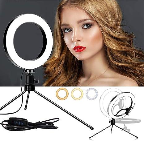 DLMPT Ringlight Make Up Light Adjustable Brightness LED Ring Light with Desktop Tripod Adjustable Color Temperature Selfie Ring Light for Vlogs Live Stream Phone YouTube,20cm