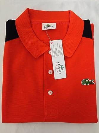 501ec47f Lacoste Sport Color Block Men's Polo Shirt Orange Top T-Shirt: Amazon.co.uk:  Clothing