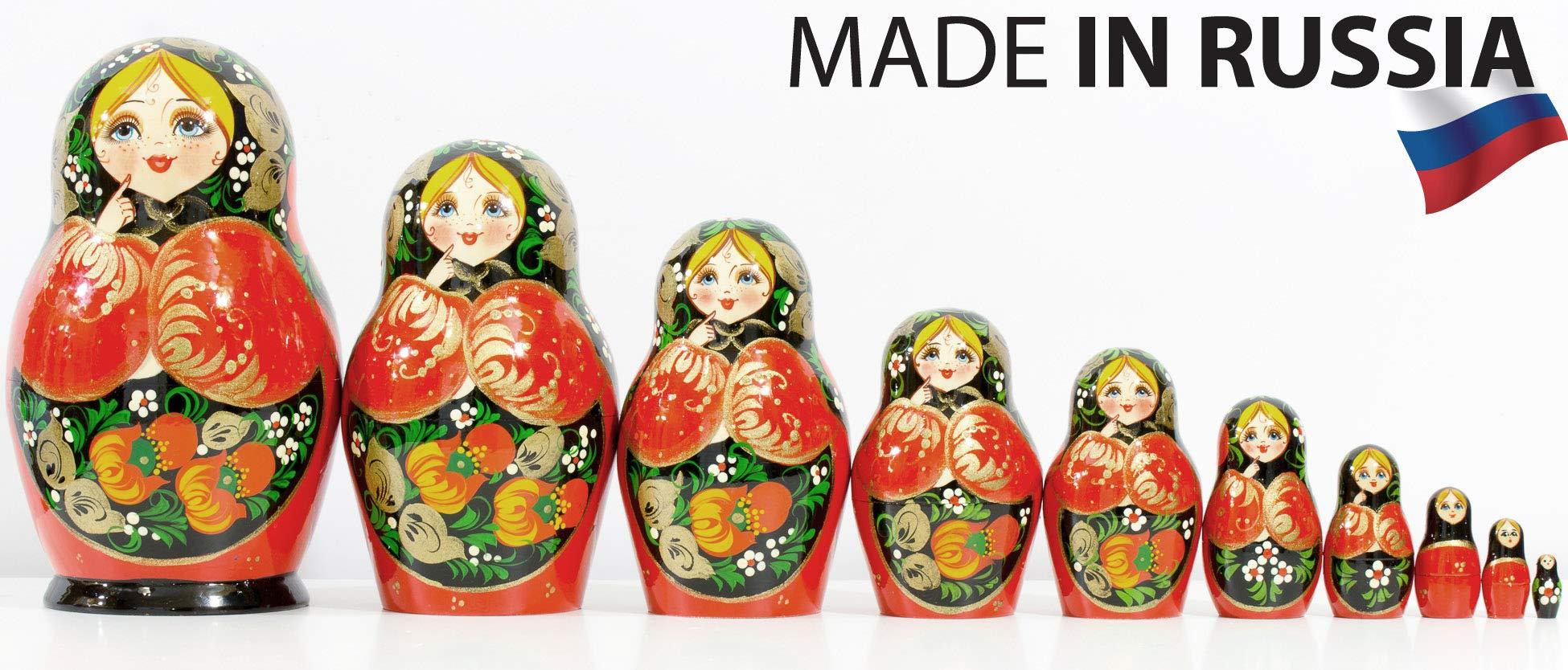 Russian Nesting Doll - Kirov - VJATKA - Hand Painted in Russia - Big Size - Wooden Decoration Gift Doll - Matryoshka Babushka (Style C, 8.25``(10 Dolls in 1)) by craftsfromrussia (Image #3)