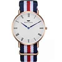 BRIGADA Minimalist Men's Quartz Wrist Dress Watch Swiss Brand Waterproof Watches for Men Nylon Band