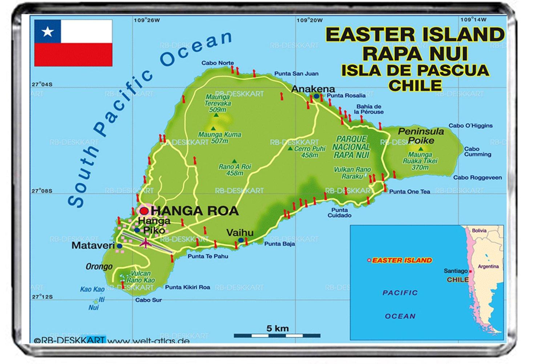 CFL M058 MAP OF EASTER ISLAND CALAMITA DA FRIGO EASTER ISLAND ...