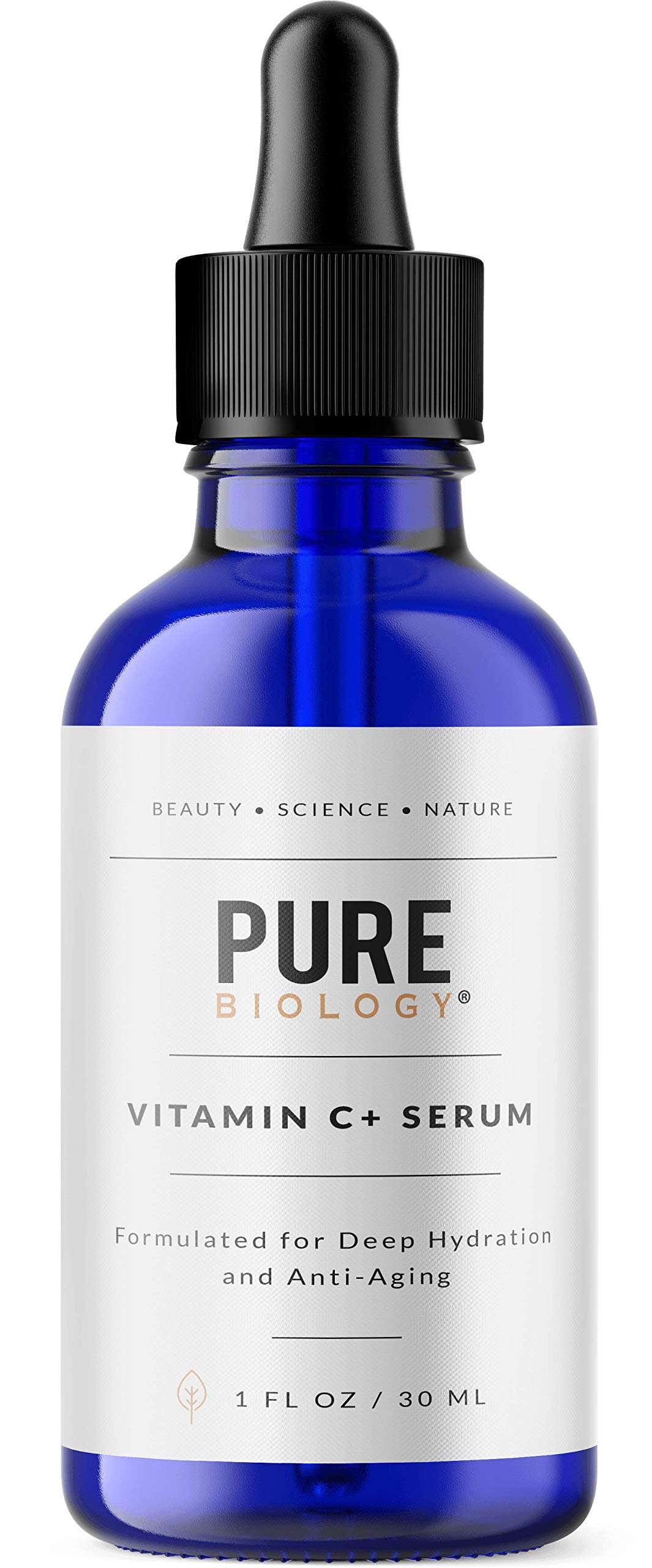 Pure Biology Premium Vitamin C Serum (30%) with Hyaluronic Acid, Vitamin E & Anti Aging Complex to Smooth Wrinkles & Brighten Skin Tone for Men & Women, 1 OZ