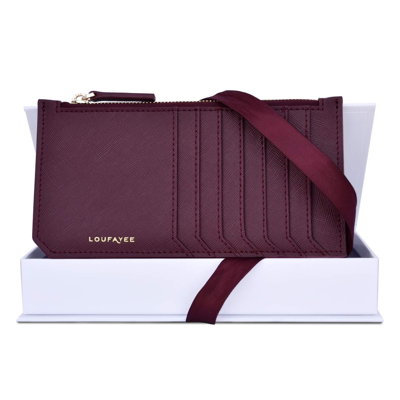 Loufayee RFID Slim Wallets for Women | Zippy Credit Card Holder | Burgundy