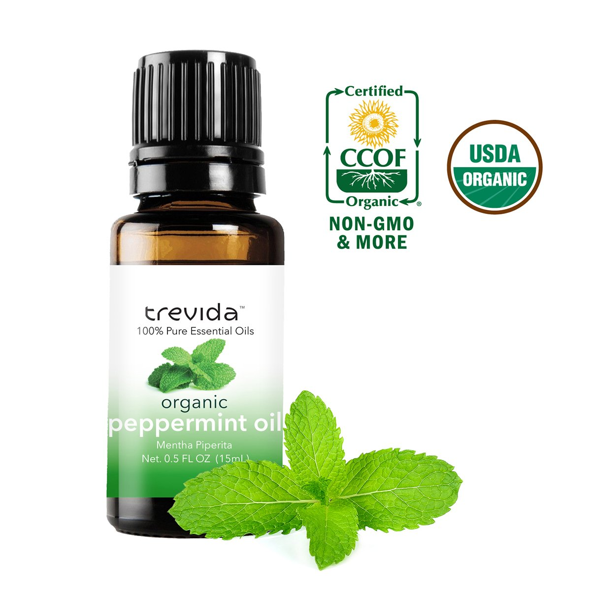 Trevida Certified Organic Peppermint Essential Oil | 15 ml | Repel Mice & Bugs, Aromatherapy, Headache Relief, Dandruff, And Acne.